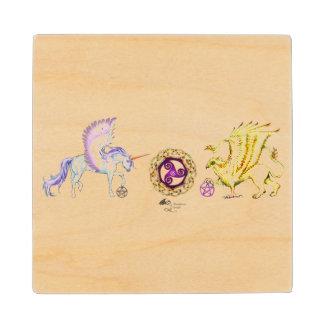 Coven Symbol Spiral Essence Unicorn Griffon Celtic Wood Coaster