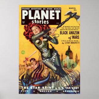 Cover Art Black Amazon Of Mars 1951 Poster