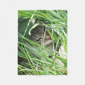 cover baby cat hidden grass fleece blanket