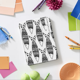 cover housing ipad black and white fish