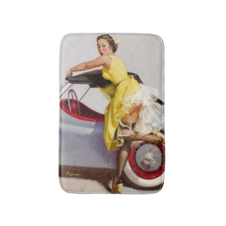 Cover up retro pinup girl bath mat
