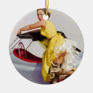 Cover up retro pinup girl ceramic ornament