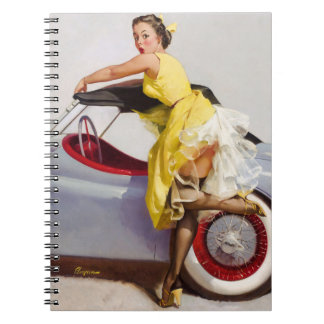 Cover up retro pinup girl notebook