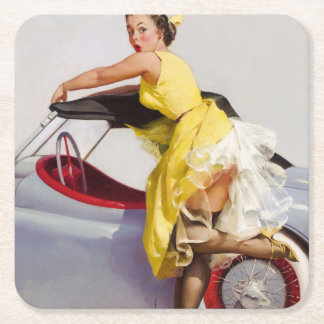 Cover up retro pinup girl square paper coaster