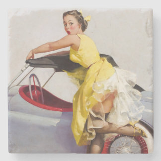 Cover up retro pinup girl stone coaster