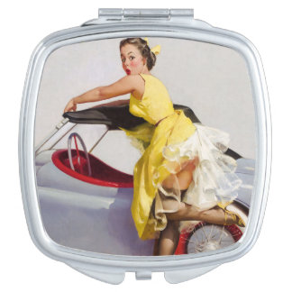Cover up retro pinup girl travel mirrors