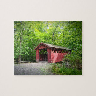 Covered Bridge At Chatfield Hollow Jigsaw Puzzle