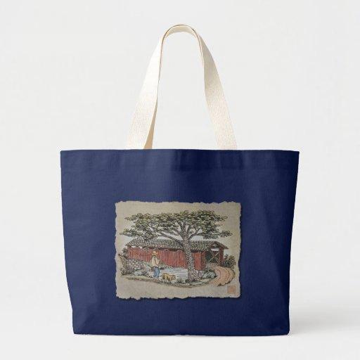 Covered Bridge & Boy Canvas Bag