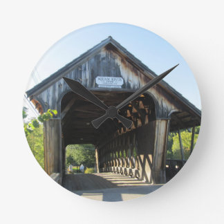 Covered Bridge Round Wall Clocks
