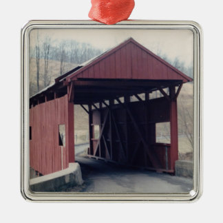 Covered Bridge Square Metal Christmas Ornament