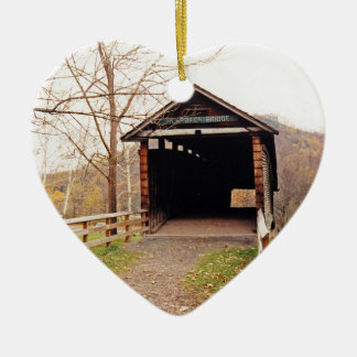 Covered Bridge Double-Sided Heart Ceramic Christmas Ornament