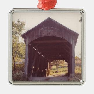 Covered Bridge Silver-Colored Square Decoration