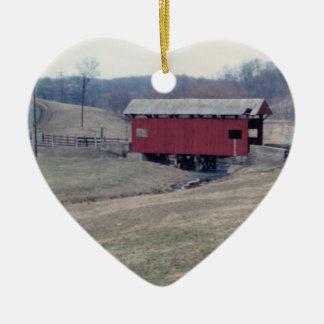 Covered Bridge Ceramic Heart Decoration