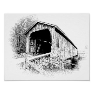 Covered Bridge Digital Pen and Ink -- Art Print