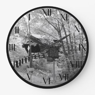 Covered Bridge in New England Large Clock