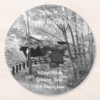 Covered Bridge in New England Round Paper Coaster