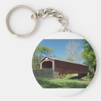 Covered Bridge in Pennsylvania Basic Round Button Key Ring