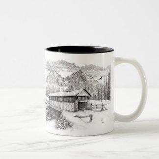 Covered Bridge in Pointillism Coffee Mug