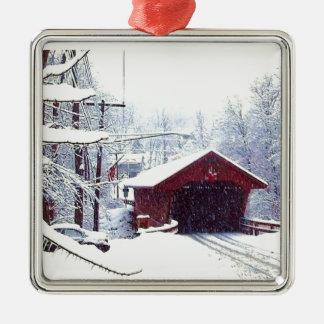 COVERED BRIDGE IN WINTER ornament