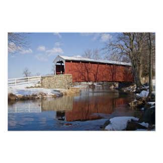 Covered Bridge in Winter Posters