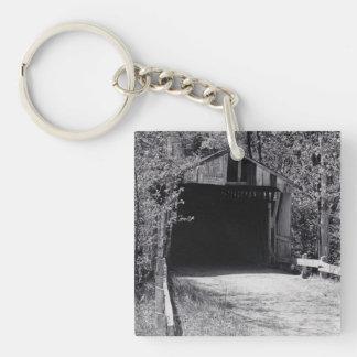 Covered Bridge Single-Sided Square Acrylic Key Ring
