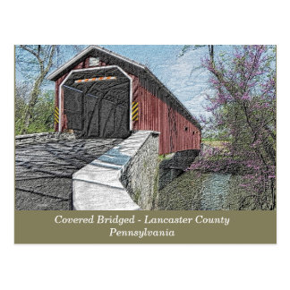Covered Bridge - Lancaster, PA - postcard