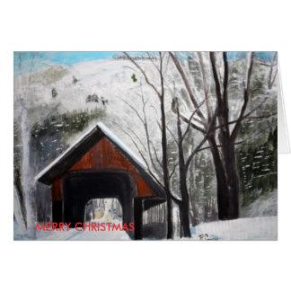 COVERED BRIDGE, MERRY CHRISTMAS CARD