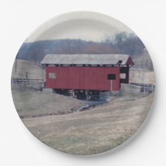 Covered Bridge 9 Inch Paper Plate