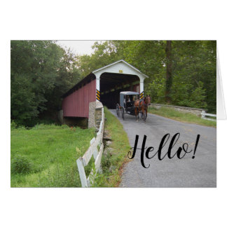 Covered Bridge Pennsylvania Amish Buggy Hello Note Card