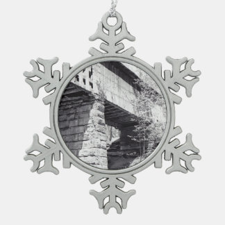 Covered Bridge Pewter Snowflake Decoration