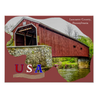 Covered Bridge - Poster Art -- Lancaster County PA