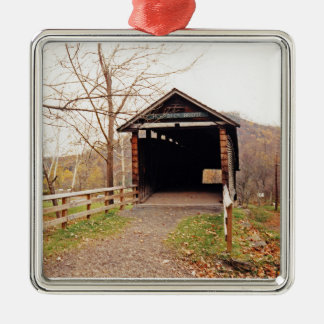 Covered Bridge Silver-Colored Square Decoration