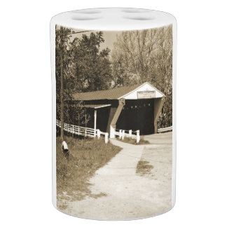 Covered Bridge Soap Dispenser And Toothbrush Holder