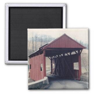 Covered Bridge Square Magnet