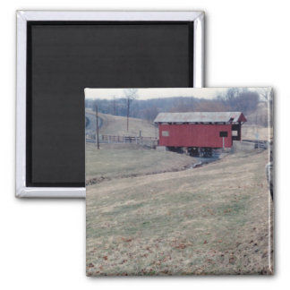 Covered Bridge Square Magnet