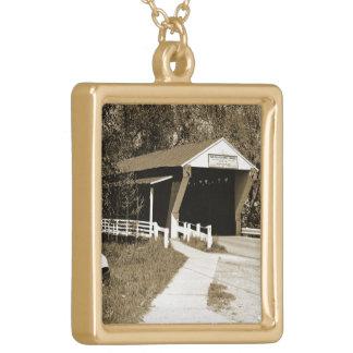 Covered Bridge Square Pendant Necklace