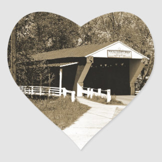 Covered Bridge Heart Sticker