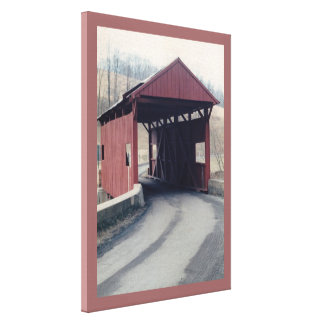 Covered Bridge Stretched Canvas Prints