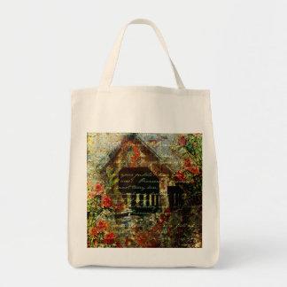 Covered bridge grocery tote bag