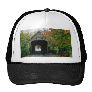 Covered bridge, with fall foliage, Woodstock, Verm Hats