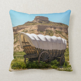 Covered Wagon at Scotts Bluff National Monument Throw Cushions
