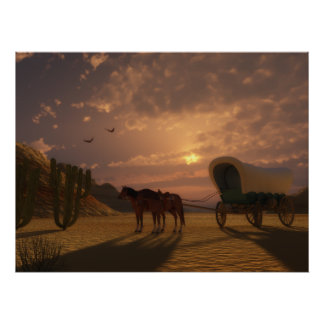 Covered Wagon at Sunset - LARGE Print