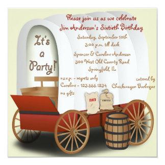 """Covered Wagon Barbecue Invitation 5.25"""" Square Invitation Card"""