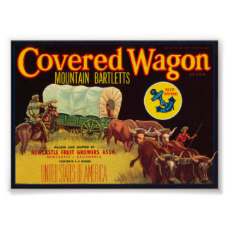 Covered Wagon Brand Mountain Bartletts Vintage Cra Poster