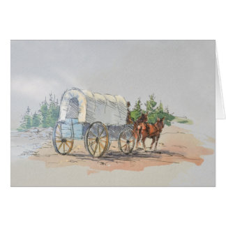 COVERED WAGON by SHARON SHARPE Greeting Card