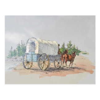 COVERED WAGON by SHARON SHARPE Postcard