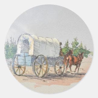 COVERED WAGON by SHARON SHARPE Round Sticker