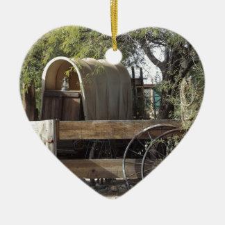 Covered Wagon Ceramic Heart Decoration