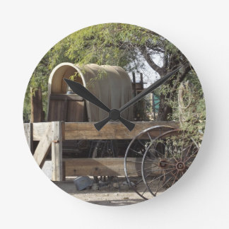 Covered Wagon Round Wall Clock