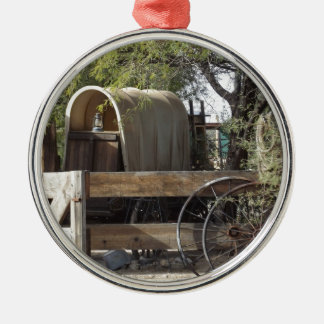 Covered Wagon Silver-Colored Round Decoration